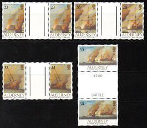 Alderney Stamps 1992 SG A52-A55 Battle of La Hogue Gutter Pairs Mint MNH