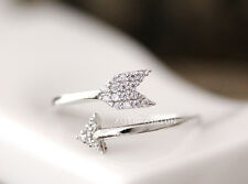 Crystal Arrow Ring Simple Adjustable Funny Wrap Ring gift idea Free size byr26