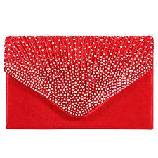 Women Rhinestone Evening Shoulder Handbag Envelope Clutch Pleated Frosted Bag