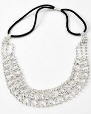 42b 1pc Stunning Silver Plt Clear Rhinestone Crystal Open Herringbone Headband