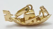 Beautiful 18K Karat Solid Yellow Gold Gondola & Gondoliers Charm Made in Italy