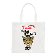 Beware Crazy Leopard Man Small Tote Bag - Funny Animal Shopper Shoulder