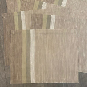 ❤️ (8) CRATE & BARREL Fractions Taupe Grey Striped Cotton Placemats