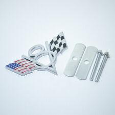Silver V8 American US USA Flag Chrome Metal Front Emblem Badge For Chrysler GMC