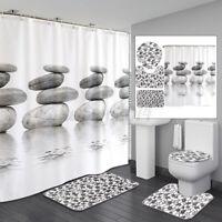 US Cobblestone Shower Curtain Anti-Slip Bath Mat Toilet Seat Cover Pedestal Rug