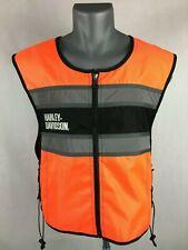 Genuine Harley Davidson Reflective Vest Motorcycle Safety Orange Road Crew S-L