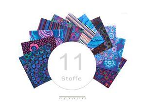 Stoffpaket Kaffe Fassett blau,11 Stoffe, verschiedene Größen, FreeSpirit Fabrics