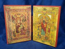 EASTERN ORTHODOX CHRISTIAN DIPTYCH ICON OF CHRIST & THEOTOKOS THE BOOK OF KELLS