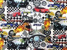 BE32 Race Cars Speedway Retro Formula Racing Stock Car COOL Cotton Quilt Fabric