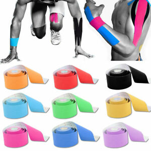 4/6 Rolls 5M Kinesiology Tape Sport Physio Muscle Strain Injury Pain Relief UK