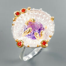 Handmade Natural Amethyst 925 Sterling Silver Ring Size 8.75/R108633
