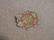 Catherine Popesco Red Enamel Pin/Brooch With Swarovski Crystals Made in France