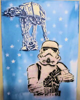 "Stormtrooper Star Wars, Original Pop Graffiti Art Glitter 1 of a Kind 12"" x 16"""