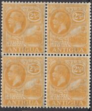 ANTIGUA 1921-29 KGV SG72 2½d ORANGE-YELLOW MNH BLOCK OF FOUR