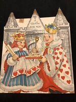 """#3129🌟HUGE 8-1/2"""" 40s Children's Hallmark Valentine's KING & Queen HEARTS Card"""