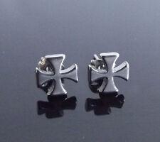 Maltese Cross SILVER Stud PAIR Ear Ring Earrings Biker Punk