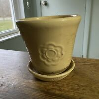 VINTAGE MID CENTURY USA YELLOW FLOWER POT PLANTER FLORAL FERN ATTACHED SAUCER