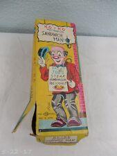 "Vintage Japan Wind Up KO-KO Sandwich Man ""Eat At Joe's"" & Box"