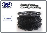 4mm, 4MM STEEL CHAIN, WELDED LINK, ELECTRO BLACK PLATED 1 MTR TO 10 MTRS LENGTHS