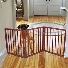 Freestanding Folding Wood Pet Animal Safety Gate Fence Pen Doorway Hall Stairs