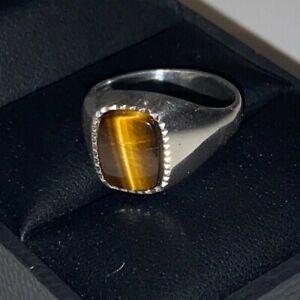 SUPERB Gents mens Vintage Solid Sterling Silver Signet Ring Tigers eye