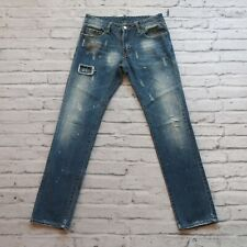 Dsquared2 Distressed Patch Denim Jeans Medium Wash Size 31 Straight Leg