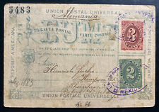 1883 Mexico City Mexico Postcard Postal Stationery Uprated Cover to Germany