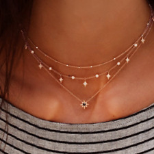 Women Fashion Multilayer Gold Chain Choker Star Crystal Pendant Necklace Jewelry