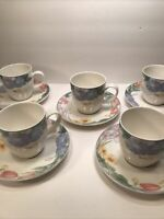 5 MIKASA ''OPTIMA'' SPRING LEGACY Y4003 CUP AND SAUCER SETS FLORAL DESIGN FOOTED