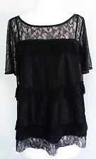 LUCKY BRAND Women's NWOT Lace Ruffle Short Sleeve Top Blouse Black Size M