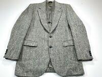 Harris Tweed Stafford Men's 40R Gray Herringbone Sport Coat 2 Button Blazer