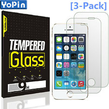[3-Pack] YoPin Tempered Glass Screen Protector Saver For Apple iPhone SE/5s/5/5c