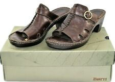 Born Women's Walnut Brown Leather Med Heel Slip On Sandals Hart Size 9M