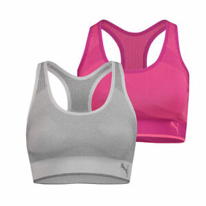 Puma Women's Performance Seamless Sports Bra, 2 Pack in Pink/Grey, Extra Large