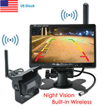 "Wireless IR Car Rear View Backup Camera+7"" Monitor for Rv Truck Trailer 12-24V"