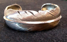 Hand Engraved Sterling Silver Feather Cuff by HJ Chavez