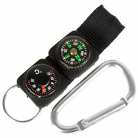 3 in 1 Multifuntional Mini Carabiner with Compass & SH Key Ring & Thermomet W4B6