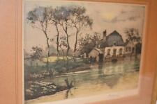 Signed Original Antique ART Watercolor English Cottage PICTURE FRAME Sarachek's