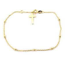 "14k Yellow Gold Rosary Bead Cross Bracelet, 7.25"""