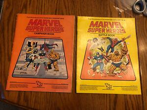 Lot of 2 Vintage TSR MARVEL SUPER HEROES RPG Books Campaign Book + Battle Book