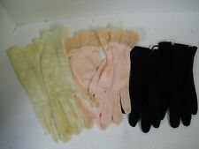 Vintage Ladies Dress Gloves Ivory Lace Lt. Pink w/ Lace Black Small Theater