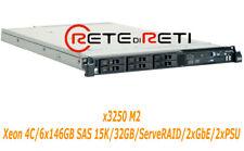 € 210+IVA Server IBM System x3550 M2 4C 6x146GB SAS 15K 32GB 2xPSU DVD-Rom