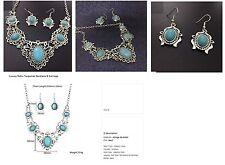 BIJOUX : B308 - Femme -  Collier et boucles d'oreilles en turquoise de luxe