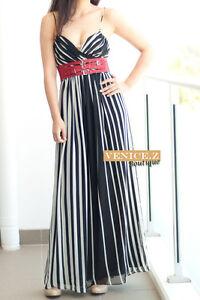 f151 BNWT RRP$159.95 SHEIKE V neck Strippe Maxi Formal Evening Dress Size 8