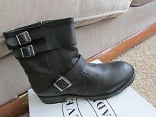NEW STEVE MADDEN BREMAN BLACK LEATHER ANKLE BOOTS MENS 13 SIDE ZIP