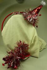 Weihnachten Nikolaus Damen Mädchen 2x Haargummi + Haarreifen Weihnachtsmütze NEU
