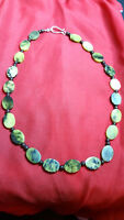 Necklace  Natural Healing Stone beaded Jasper Yellows Greens Boho Chic