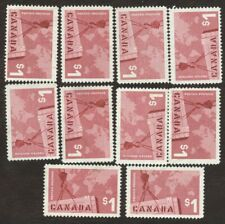 Canada Stamps # 411, $1, 1963, lot of 10,  used stamps.