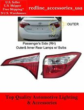PASSENGER RIGHT SIDE INNER AND OUTER REAR TAIL LIGHT LAMP FOR 2014-16 COROLLA