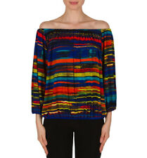 Joseph Ribkoff Blue/Green Striped Off-The-Shoulder Top US 8 UK 10 New 182558